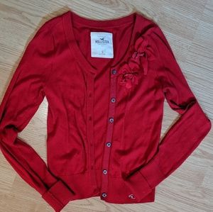Red Hollister Cardigan Small